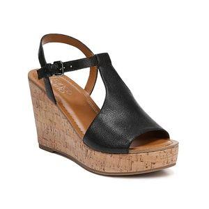 Franco Sarto Clinton Black Leather Cork Wedges